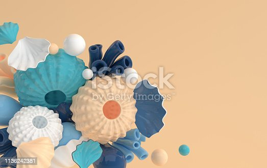 istock Sea urchins, shells, coral and bubbles set. 3d rendering marine life background. Summer vacation, ocean underwater life concept. 1136242381