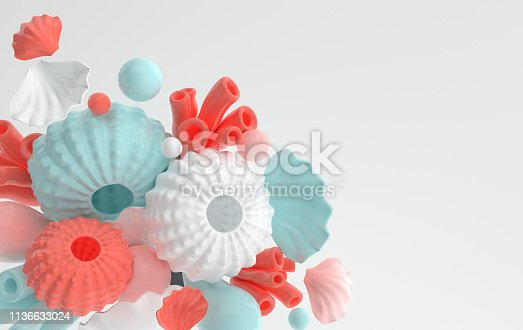 istock Sea urchins, shells, coral and bubbles set. 3d rendering marine life background. Summer vacation, ocean underwater life concept. Pastel colors 1136633024