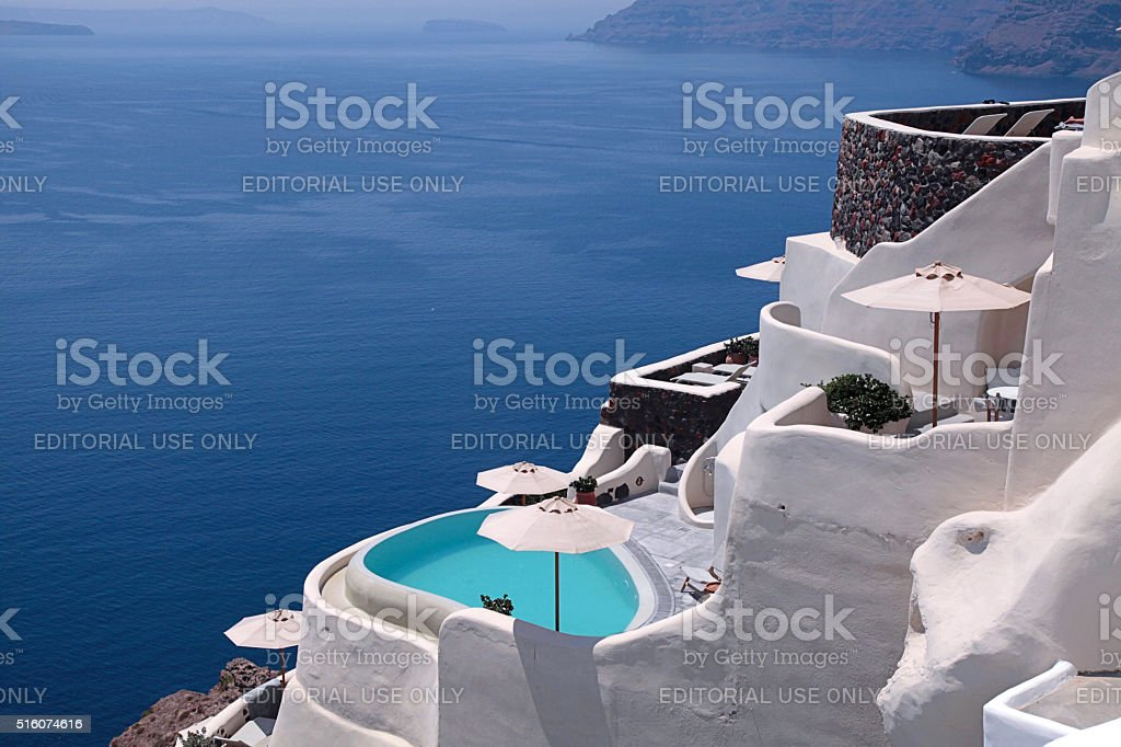 Sea view and white terrace, Santorini stock photo