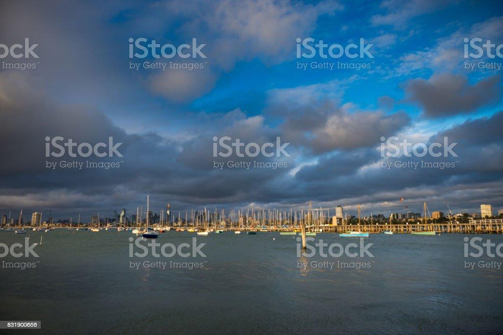 Sea view at St Kilda Beach stock photo
