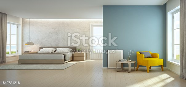 3d rendering of interior with bed, armchair and coffee table