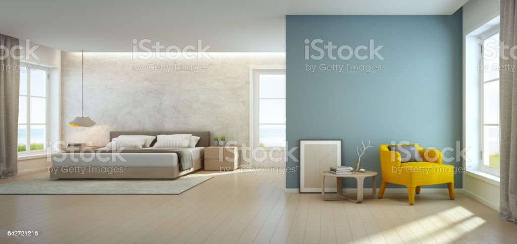 Sea view bedroom and living room in luxury beach house, Modern interior of vacation home stock photo