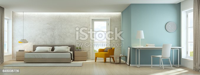 istock Sea view bedroom and living room in luxury beach house, Modern interior of home office 645008726