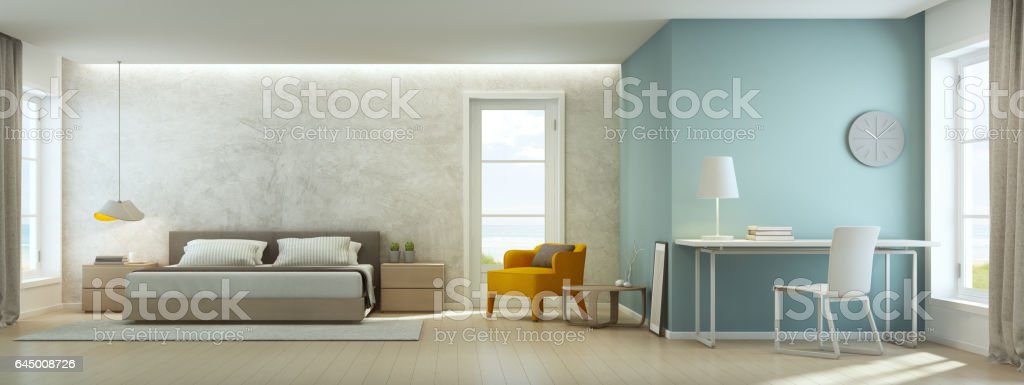 Sea view bedroom and living room in luxury beach house, Modern interior of home office stock photo