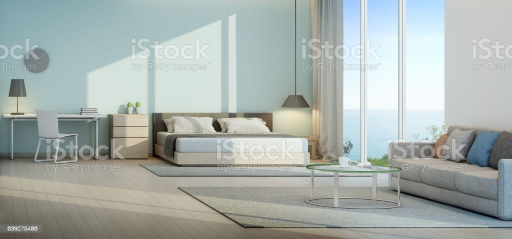 Sea view bedroom and living room in luxury beach house – Foto