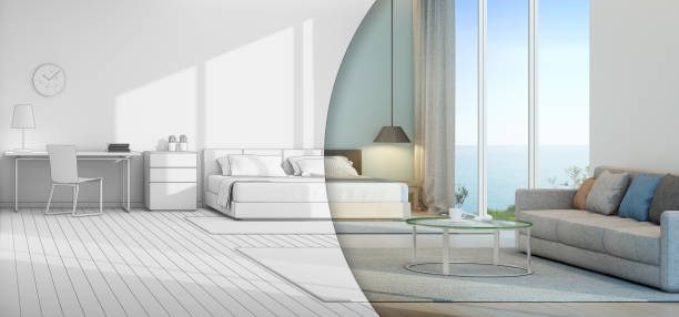 Sea view bedroom and living room in luxury beach house ストックフォト