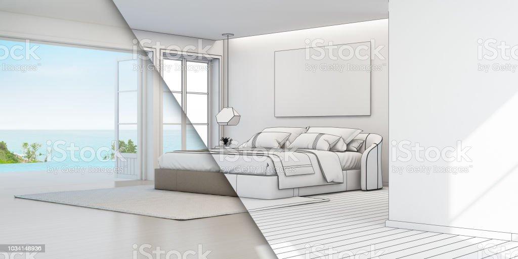 Dormitorio De Casa De Playa De Verano De Lujo Con Cama De