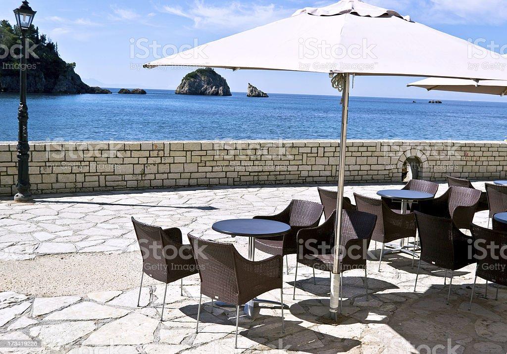 sea view cafe stock photo