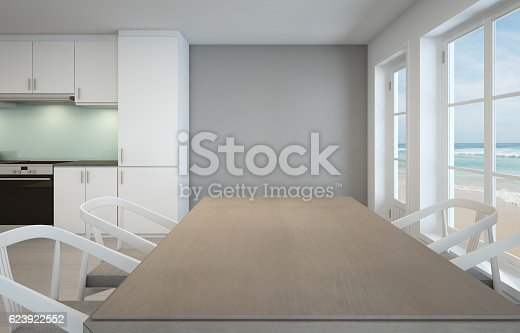 istock Sea view dining room and kitchen in luxury beach house 623922552