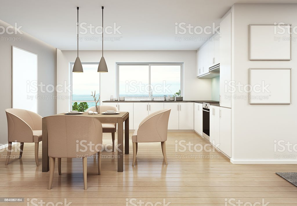 Sea view dining room stock photo