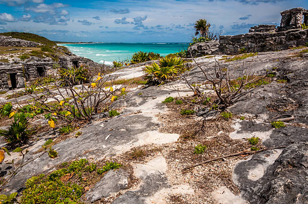 Sea view from Mayan ruins in Tulum Mexico Yucatan Tulum ruins are one of the most well preserved and most scenic sites in Mexico. The Mayan city is placed near the beach and served as a port in the past. naya rivera stock pictures, royalty-free photos & images