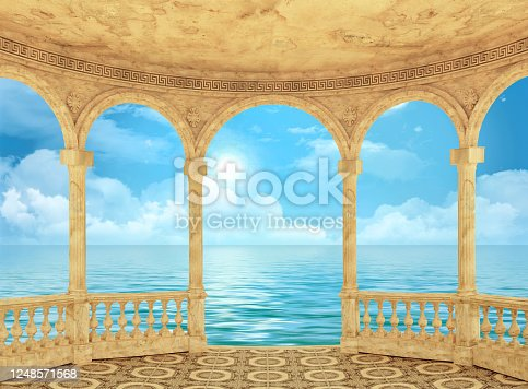 Sea view from the semicircular arched terrace 3d rendering