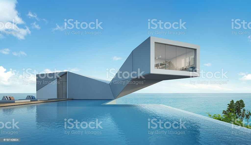 sea view house with pool in modern design, Abstract building stock photo