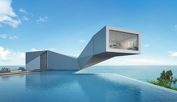 sea view house with pool in modern design, abstract building - modernes ferienhaus stock-fotos und bilder