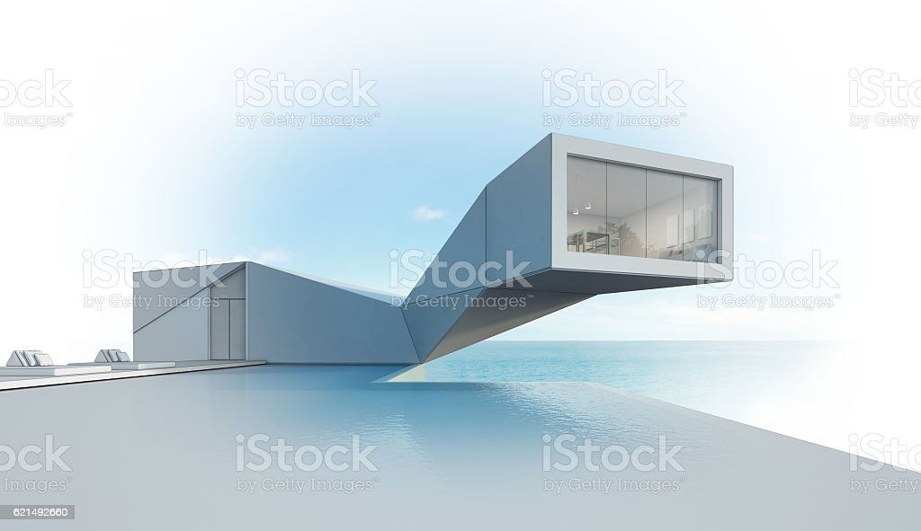 sea view house with pool in modern design, Abstract building Lizenzfreies stock-foto