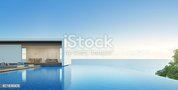 istock Sea view house with pool in modern design, Luxury villa 621836926