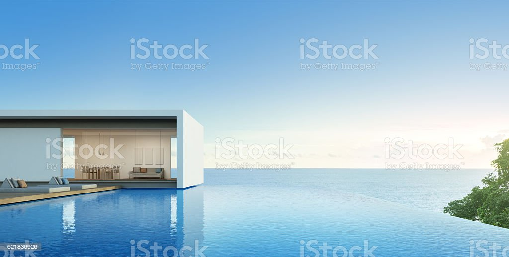 Sea view house with pool in modern design, Luxury villa stock photo