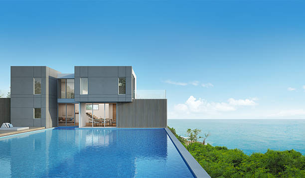 sea view house with pool in modern design - modernes ferienhaus stock-fotos und bilder
