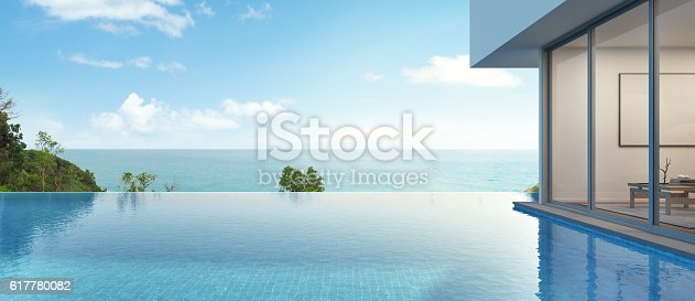 istock sea view house with pool in modern design 617780082