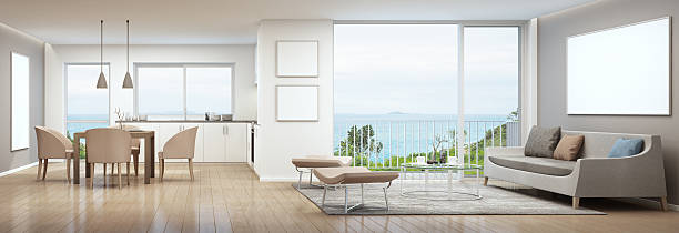 sea view interior - malerei türen stock-fotos und bilder