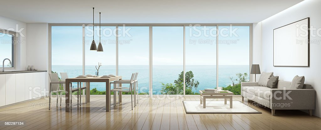 Sea view interior stock photo