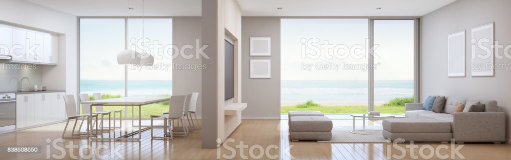 Meer Blick Küche, Ess  Und Wohnzimmer Luxus Strandvilla In Modernem Design.  Ferienhaus Für