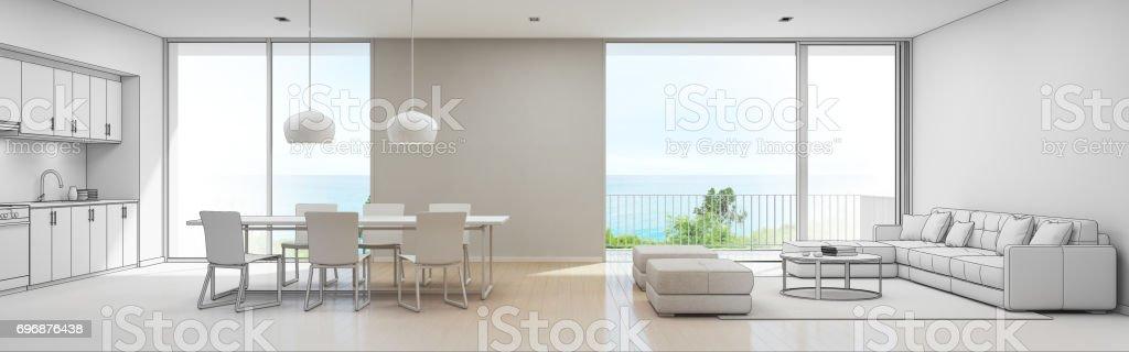 Meer Blick Küche, Ess  Und Wohnzimmer Luxus Strandvilla, Skizze Design Der  Moderne Ferienwohnung