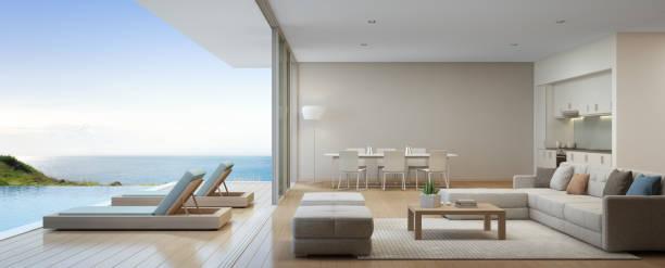 meer blick küche, ess- und wohnzimmer von luxus-strand-haus mit terrasse in der nähe von schwimmbad in modernem design. hause oder im urlaub ferienhaus für großfamilie. - ferienhaus thailand stock-fotos und bilder