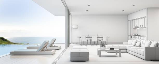 meer blick küche, ess- und wohnzimmer von luxus-strand-haus mit terrasse in der nähe von schwimmbad in modernem design. hause oder im urlaub ferienhaus für großfamilie. - traum pools stock-fotos und bilder