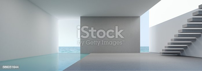 istock Sea view living in modern house interior on beach 586051644
