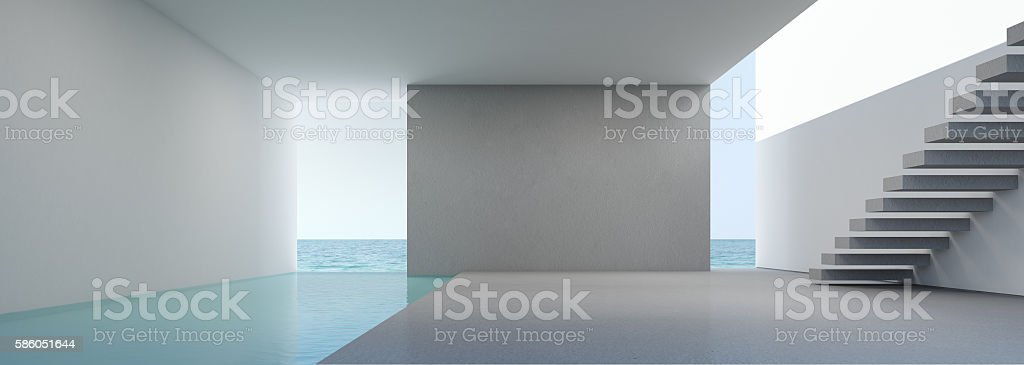 Sea view living in modern house interior on beach stock photo