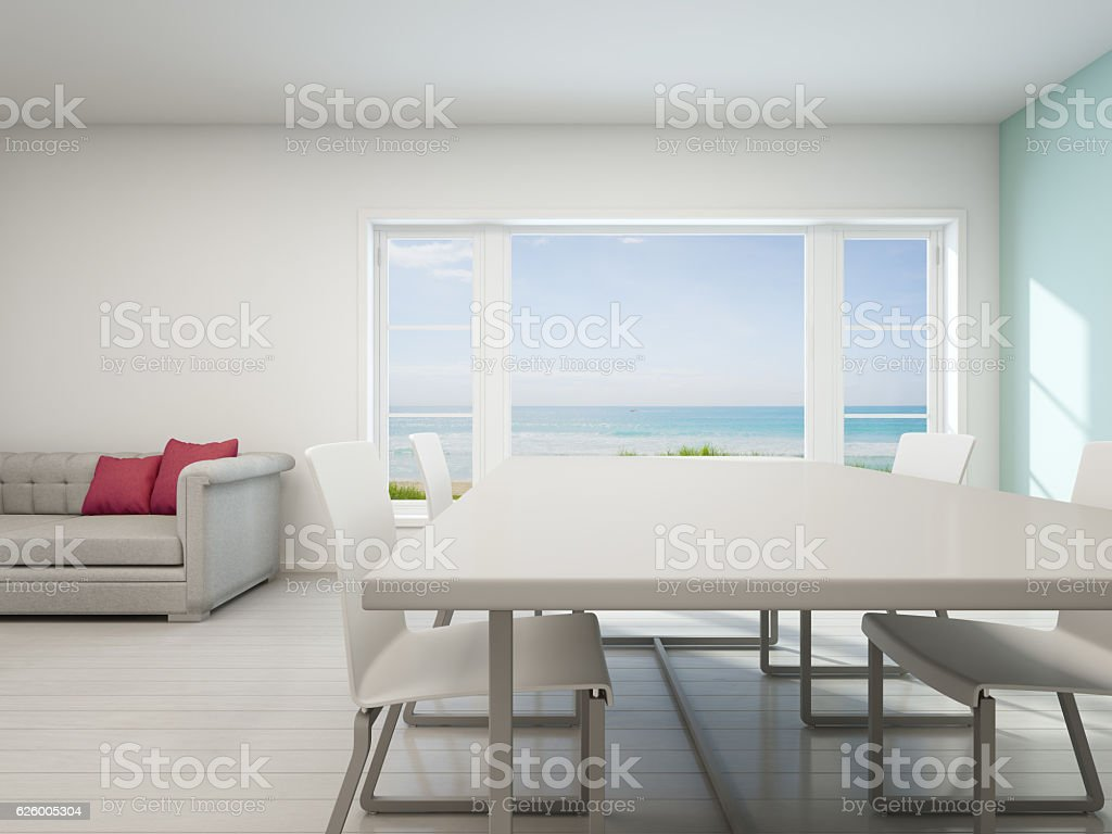 Sea View Living Room Beach House With White Vintage Interior Stock ...