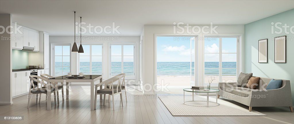 Sea view living room, dining room and kitchen, Beach house stock photo