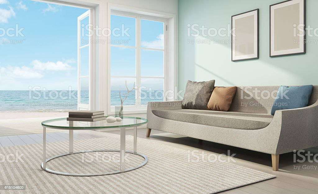 Sea view living room in beach house stock photo