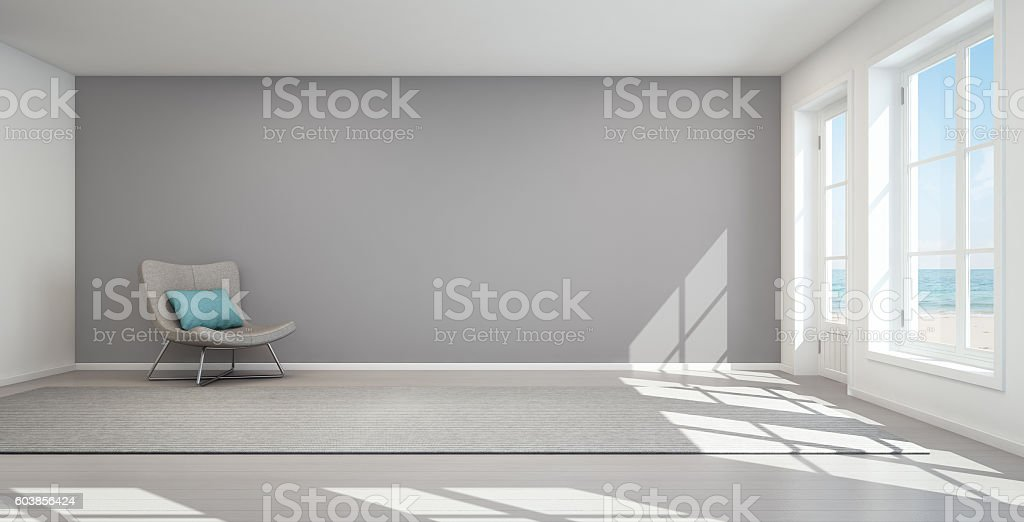 Sea view living room in modern beach house, Summer home stock photo