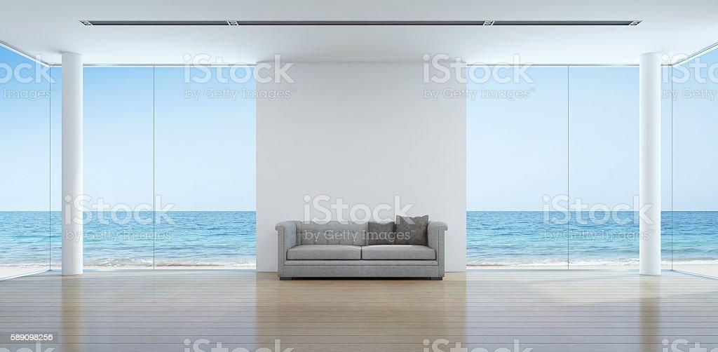 Sea view living room interior in modern beach house – Foto
