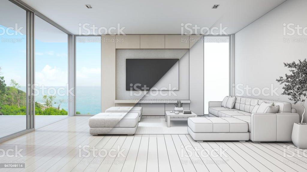 Meer Blick Wohnzimmer Luxus Strandhaus Mit Glastür Und Holzterrasse - Wohnzimmer glastür