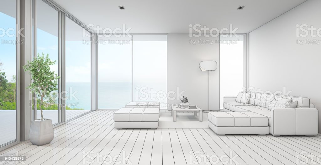 Sea View Living Room Of Luxury Beach House With Indoor Plant Near Glass Door And Wooden