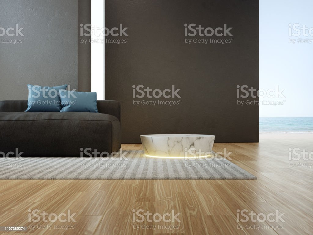 Black concrete wall background in vacation home or holiday villa....