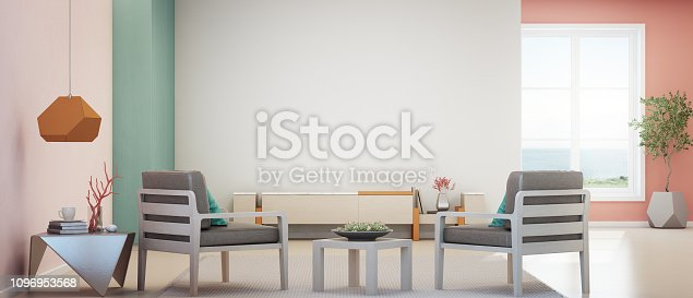istock Sea view living room of luxury summer beach house with TV stand and wooden cabinet. Empty white concrete wall background in vacation home or holiday villa. 1096953568