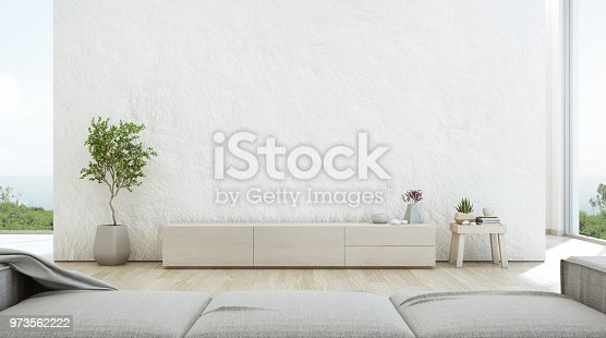 istock Sea view living room of luxury summer beach house with TV stand and wooden cabinet. Empty rough white concrete wall background in vacation home or holiday villa. 973562222