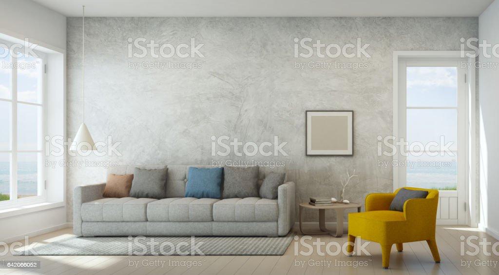 Wohnzimmer mit meerblick mit betonmauer in modernen strandhaus