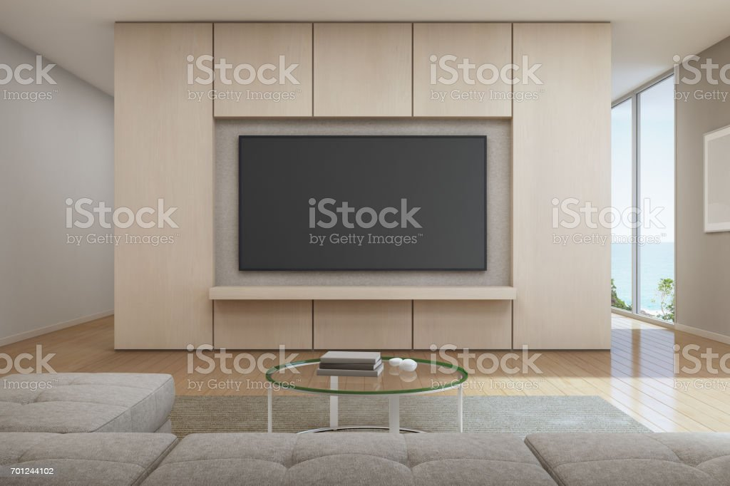 Sea view Living room with television in modern luxury beach house, Vacation home for big family stock photo