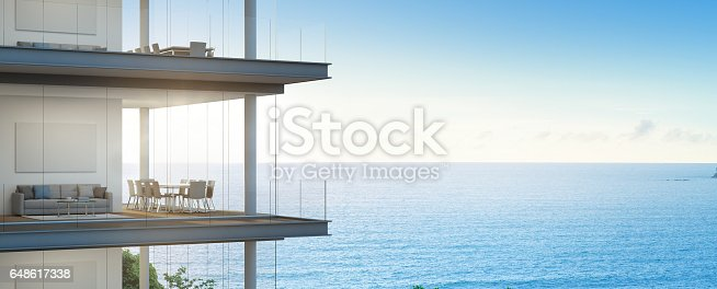 istock Sea view meeting and living room in modern office, Building with luxury interior 648617338