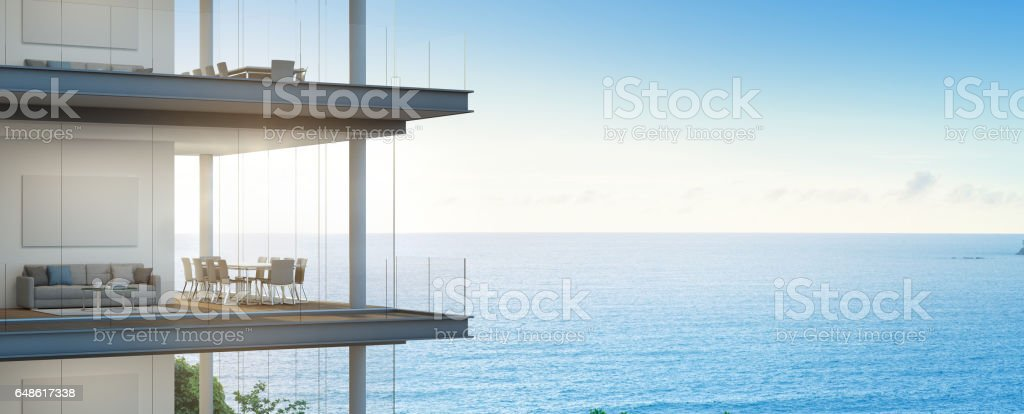 Sea view meeting and living room in modern office, Building with luxury interior stock photo