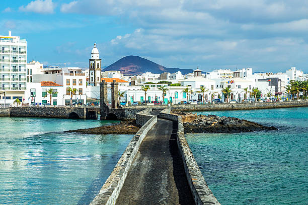 sea view of Castle of San Gabriel and Arrrecife stock photo