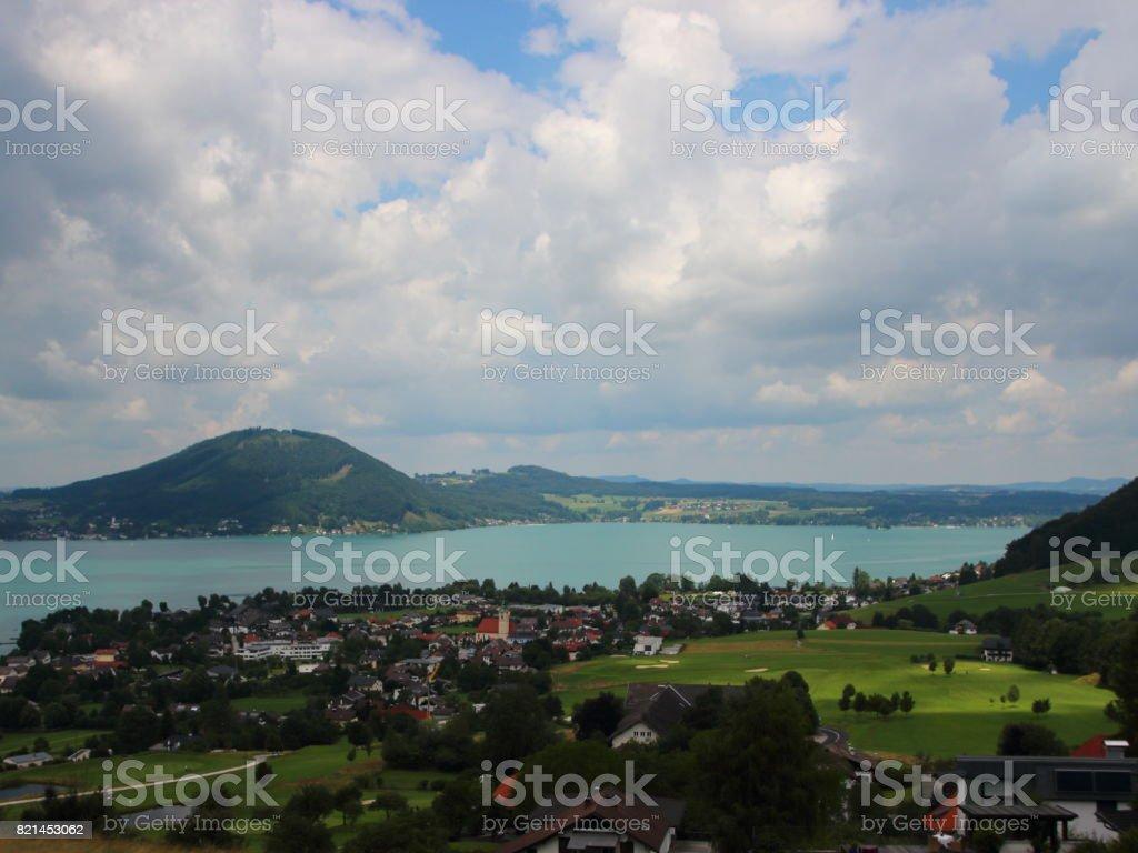 Meerblick über den nördlichen Teil des Sees Österreich Attersee – Foto