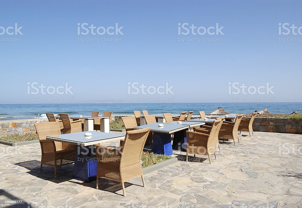Sea View Relaxation Area Of Luxury Hotels Restaurant Crete
