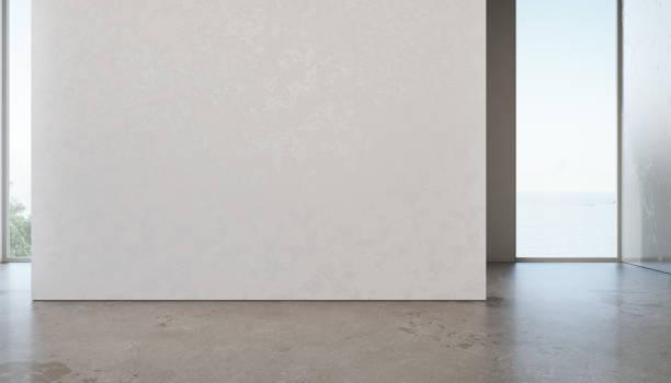 シービュー ルームのガラス ウィンドウと灰色のコンクリート床の高級海の家。自宅や休日の別荘の空の白い壁の背景。 - 美術館 ストックフォトと画像