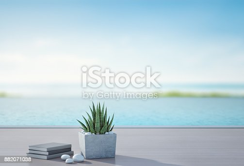 istock Sea view swimming pool and terrace in luxury beach house with blurred sky background, Books near plant on wooden floor at vacation home or hotel, 3d illustration of tourist resort 882071038